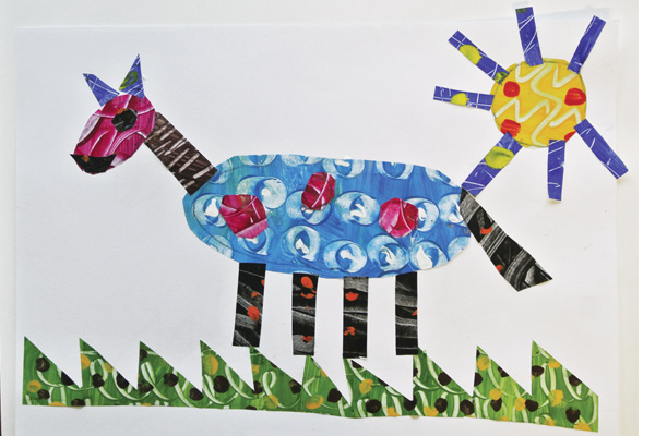 Eric Carle inspired collage of a horse