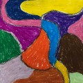 swirly lines with oil pastels