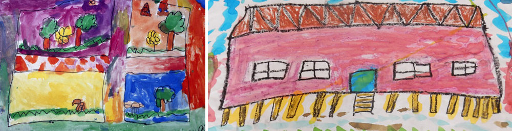 Young children drawings of their home; what they see out of their window; and a long house by a young child in Papua New Guinea