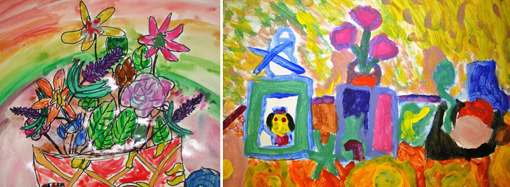 Beautiful representation of colourful flowers by young students