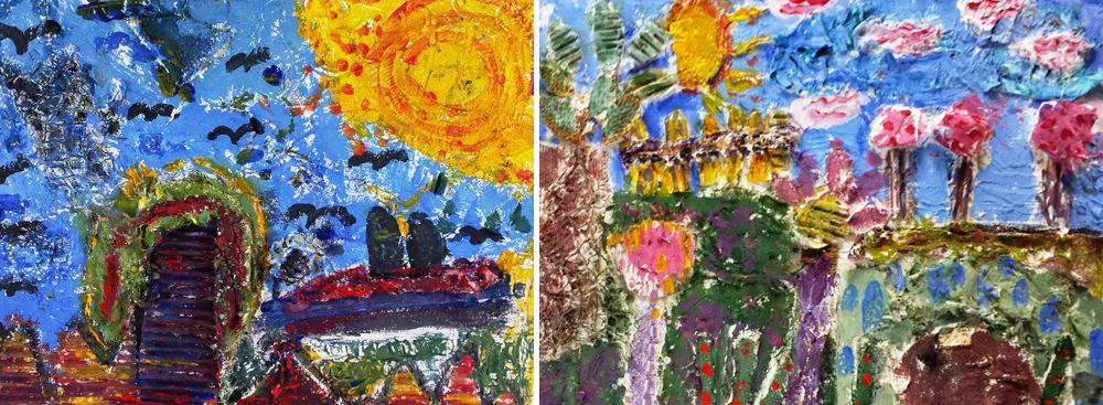 Mixed media painting/collages of the bursting sun in summer.