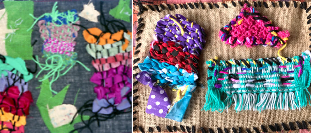 Sample of Arpilleras done by primary/elementary school children, they include small woven pieces.